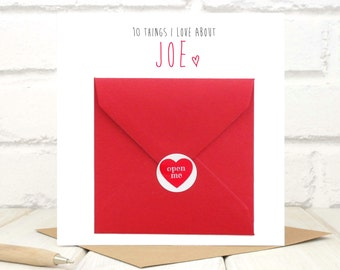 10 Things I Love About You Card - Valentines Card - Anniversary Card - Personalised Card - Guess Who - Soulmate - Solemate - Custom Card