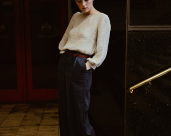 Cars and Races Wide Leg Trousers in Wide Wale Corduroy, Navy