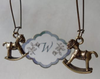3D Rocking Horse Earrings! Cute Bronze Rocking Horse Earrings! Delightful Details! Very Sweet Earrings! OOAK Earrings! Ships Free! On Sale!