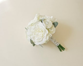 White Peony White Ranunculus Silk Wedding Bouquet with Silvery Green Leaves (Small Bouquet, Bridesmaid Bouquet)