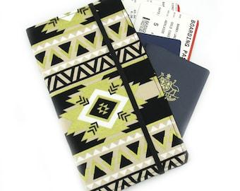 Travel Wallet, passport holder, family travel wallet, travel organizer, passport wallet, document holder - Black and Gold Aztec