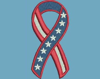 Support Our Troops Flag USA Ribbon Military Embroidery Design - Instant Digital Download