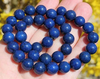 Lapis Lazuli Blue 10 MM round beads. AT38