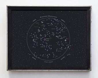 Northern Hemisphere Star Chart Fine Art Print // constellation poster // astronomy print // wall art // stars decor // typography print
