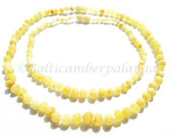 Raw Unpolished Baltic Amber Teething Set for Baby and Mommy. Light Color Rounded Beads