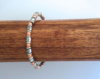 Bracelet Lead Safe Pewter Copper on Strong Elastic Small Adult Six inches
