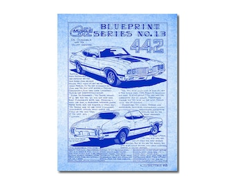 1970 Olds 442 Car Art Diazo Blueprint Cardstock Print,70 Oldsmobile Musclecar,Man Cave Decor,Teeters,MuscleCar Print,1970 Muscle Car Art