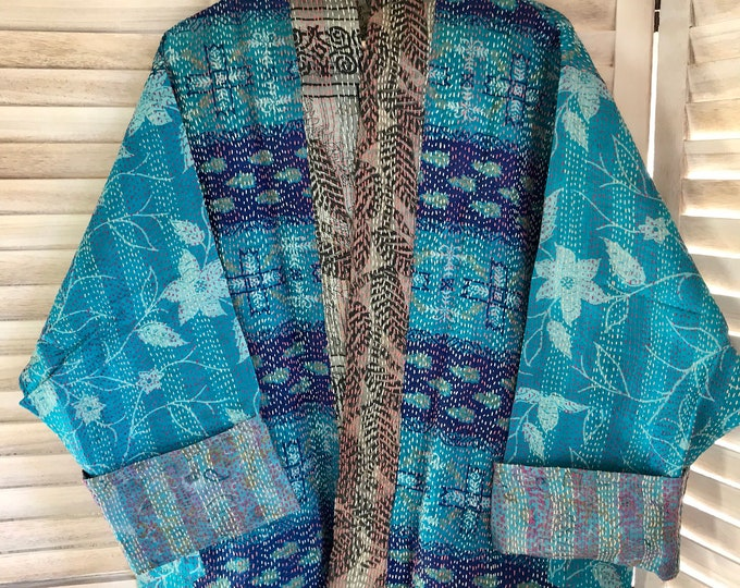 Turquoise and taupe plus size reversible silk kimono