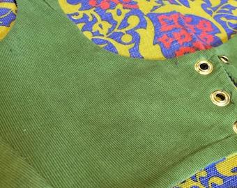 Retro floral and green velvet Turkish vest  reversible, belly dance, tribal, ATS, SCA, rennfaire, burningman