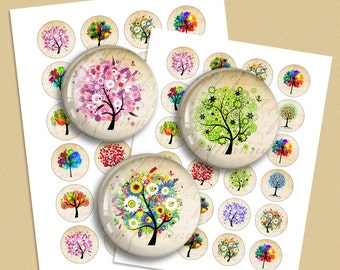 Colorful Trees Digital Collage Sheet  1.313 inch 1.5 inch  30mm 1 inch 25mm Circle images for Bottle caps, Pendants