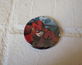 Serious Comic Book Flash Pinback Button