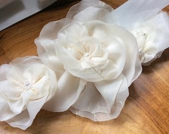 Beautiful Ivory sash with fabric flowers (Florence), summer wedding belt by Blue Lily Magnolia - bridal sash, belt, bridesmaid sash