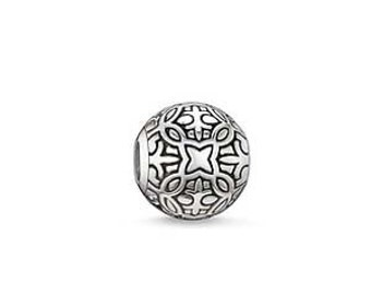 Karma beads perle goa, pendant Charm, sterling silver charm, Bracelet européen, pendentif, Style Européen à breloques