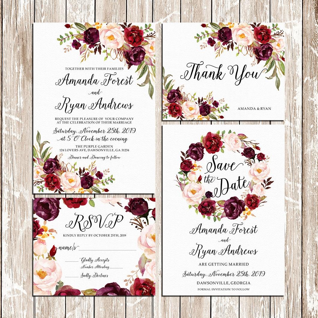 Printable Wedding Burgundy Purple and Pink Invitation set Boho