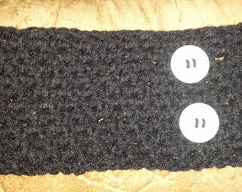 Crochet Black Headband with White Buttons