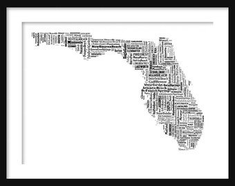 Florida Typography Map Poster Print Tyographical Map