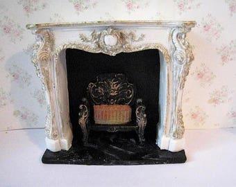 Dollhouse Fireplace, , Elegant fireplace, fireplace, , dollshouse, miniature, dollhouse miniin twelfth scale