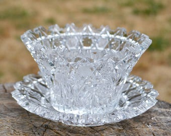 Heavy Vintage Cut Glass Bowl and Saucer