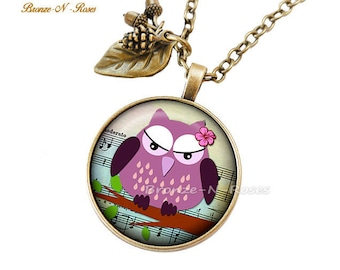 "Necklace ""Pretty pink OWL"" fantasy glass cabochon bronze jewelry"