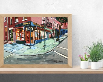 Three Lives & Company bookstore NYC Reading, books, Book Lover Gift for Writer New York Art Print Bookstore painting Gwen Meyerson