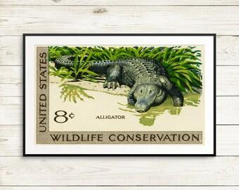 Fine art prints: alligator, wildlife, conservation, conservation efforts, wildlife protection, art print set, vintage poster set, US postage