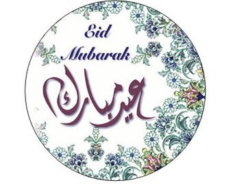 """24 Eid Stickers with the word """"Eid Mubarak"""" in both english & arabic, party, gift, gift tags, Eid, envelope seal, cupcake topper"""