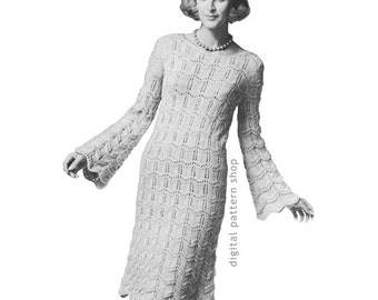 Trumpet Sleeve Dress Knitting Pattern Vintage Knit Dress Pattern Long Bell Sleeve Dress Womens PDF Pattern Instant Download- K95