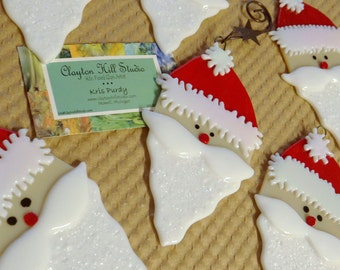 Santa Claus Ornament - Fused Glass