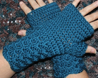Shell Stitch Fingerless Mitts Mittens Gloves Arm Wrist Warmers Crochet Pattern