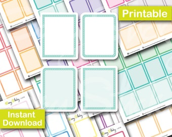 Pastel Stitched Full box Planner , Printable Planner, Printable Sticker, Erin Condren Planner Sticker