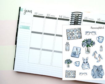 Baby Blue/Donut/Rabbit/Easter Deco Themed Planner Stickers for Erin Condren, Kikki K, Filofax, Happy Planner, Websters Pages
