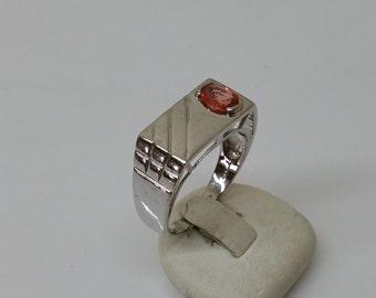 20 mm Silver ring 925 Mandarin Garnet Stainless SR742