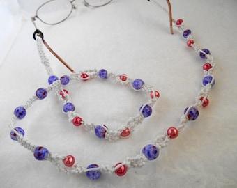 Macrame eyeglass chain