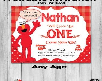 Elmo Invitation, Elmo Party, Elmo Invite, Sesame Street Party, Printable Elmo First Birthday, 1st Birthday, Party Favors, Thank You, Any Age