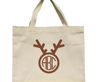 Canvas Tote Bag, Reindeer Monogram Christmas Tote Bag, Teacher Christmas Gift, Monogrammed Christmas Tote, Monogrammed Reindeer