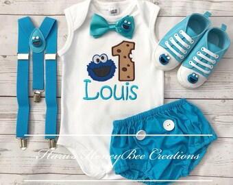 3-pc set Sesame street Cookie Monster birthday outfit - include top(onesie or Tshirt)Diaper cover,bowtie