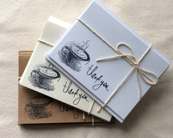 6 Coffee Thank You Card Set, Thank you Cards, Coffee Note Cards, blank coffee cards, gifts for him, gifts for her, coffee lovers gifts