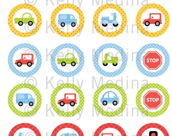 """Cars, Trucks, Scooters 2 - 1.5"""" Circle Digital Collage Sheet - Commercial use for Cupcake Toppers, Magnets, Paper Crafts and Products"""