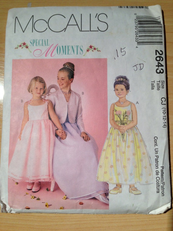 McCalls Sewing Pattern 2643 Childrens and Girls Dress and Lined Jacket Size 10-14 Uncut
