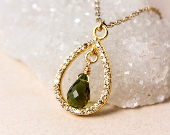 Gold Green Tourmaline Teardrop Necklace- Tourmaline Pendant - Diamonds, Gold Filled