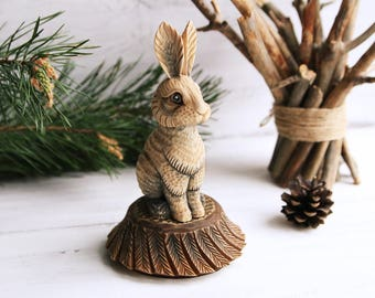 Wood Carving Wooden Rabbit Statue Bunny Rabbit Figurine Wooden Animal Totem Wooden Statue Bunny Miniature Hand Carved Hare sculpture