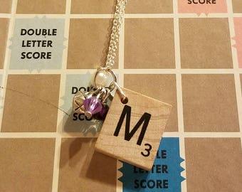 Scrabble tile M necklace