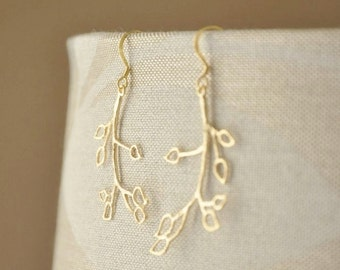 Gold Vermeil Modern Twig Leaf Earrings-  Branch Earrings, Everyday Earrings, Nature Inspired Earrings, Cute Earrings, Whimsical Earrings