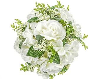 White Wedding Flowers artificial roses pomander kissing ball bridesmaid silk flower