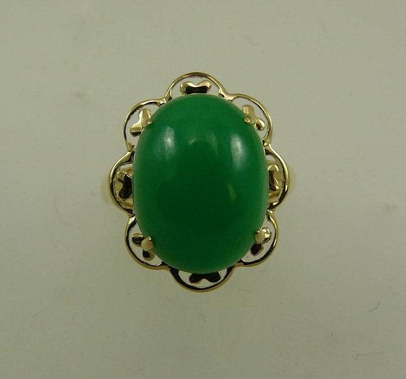 Green Jade 16.1 mm x 12.2 mm Ring 14k Yellow Gold