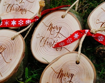 Rustic Christmas Decorations, Log Slice, Tradtional, Decoration, Xmas Tree, Holidays, Festive, Christmas, Trimmings, Laser Engraved