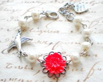 Christmas Gift For Kid Flower Girl Bracelet Red Flower Bracelet Children Pearl Jewelry Bird Bracelet Flower Girl Gift Baby Girl Bracelet