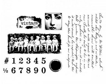 Stampington & Co Vintage inspired Images Clearly Impressed Set Cling Rubber Stamp
