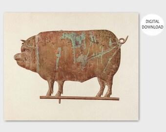 "Pig Art, Pig Print (Farm Wall Art, Rustic Country Decor, Farmyard Animal, Downloadable Prints Pigs) - 1930s PRINTABLE Art ""Hog Weather Vane"""