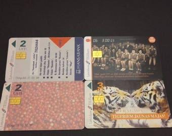 Vintage Phone Cards Latvia 4 Pcs Lattelekom Telekarte 1998 1999 2002 2 Ls C116
